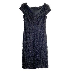 David Meister Cap Sleeve Sequin Lace Dress Sz 4